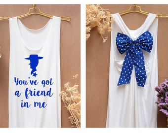 You've got a friend in me Woody Tank Premium with Bow : Workout Shirt - Keep Calm Shirt - Tank Top - Bow Shirt - Razor Back Tank - Toy story