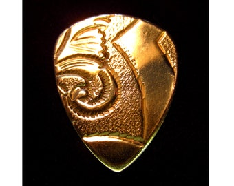 Antique Etched Brass Guitar Pick - Standard 351 .8mm Medium - Free Shipping with Extra Gifts Included
