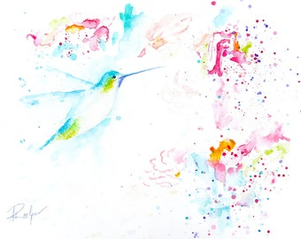 Bird Watercolor Painting, Bird Art Print, Bird Artwork, Bird Lover Gift, Bird Prints, Bird Painting, Bird Water Color Painting - Hummingbird
