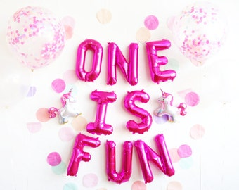 ONE IS FUN balloons party box - unicorn confetti