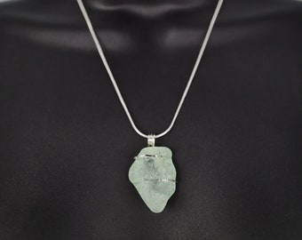 Authentic Sea Glass Bottle Necklace Pendant Blue Sea Glass Wire Wrapped in Sterling Silver Blue Green Sea Glass Jewelry
