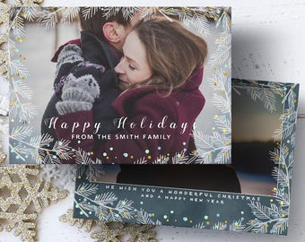 Happy Holidays Photo Card, Family Photo Card, Printable Christmas Card, Photo Christmas Card, 4x6 Card, 5x7 Card, Digital File, JPG, PDF
