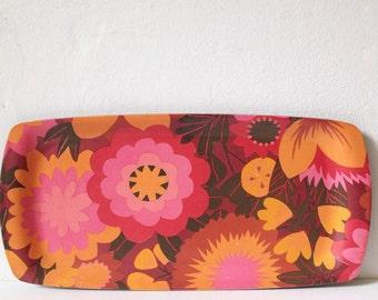 Retro tray, vintage orange and pink floral melamine floral tray