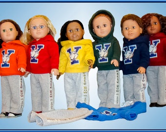 "Custom Colors & Logo on Hoodies for American Girl Doll or American Boy 18"" Doll Clothes Add School Name n Image or Sports Team Name n Loq"