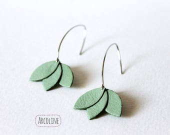 Sea green leather petals earrings