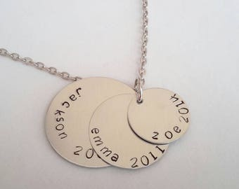 Custom hand stamped Mommy necklace for 3 children