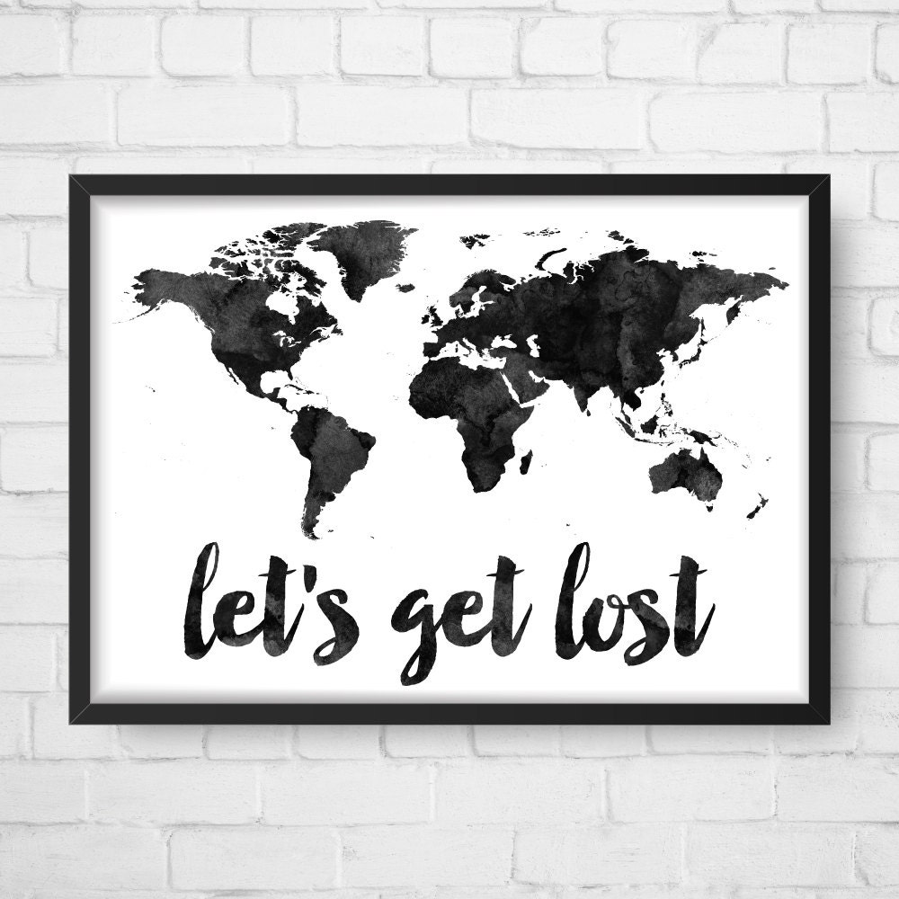 Watercolor world map lets get lost world map art zoom sciox Image collections