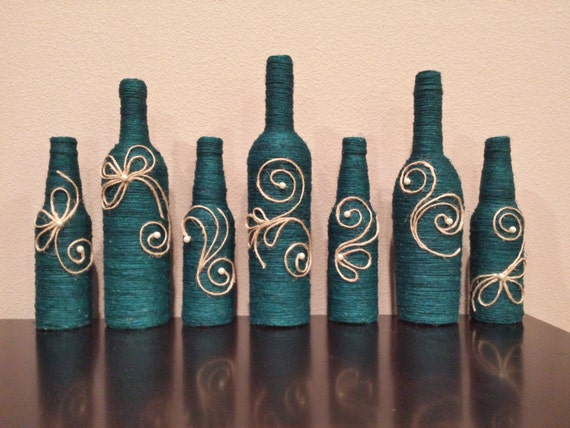 Items similar to TWINE WRAPPED WINE Bottles on Etsy |Twine Covered Wine Bottles