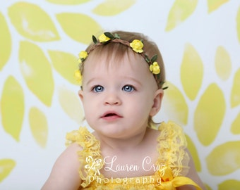 Boho style braided leather halo with paper cabbage roses with elastic available in yellow or pink flowers by Lil Miss Sweet Pea