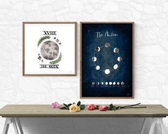 Moon Phases | Watercolour Art Print