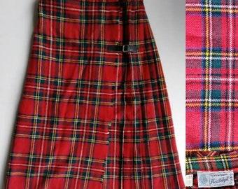 Size XS Vintage Wool Plaid According Pleated Skirt - Red Tartan Kilt-Style Skirt - Heathlyn, Below-the-Knee Pleated Wool Skirt with Buckles