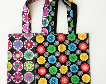 SPECIAL SALE Retro Flowers Tote Bags (2) Colorful Statement Bags Gifts for Her Women's Accessories Gifts for the Gardener Floral Bags