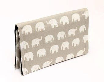 Fabric Card Holder, Cute Mini Wallet, Business Card Case, Gift Card Case Women, Small Animal Wallet for Kids- gray/beige white tiny elephant