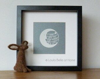 REDUCED I Love You To The Moon and Back: Moon Cut, an original papercut by Loula Belle at Home