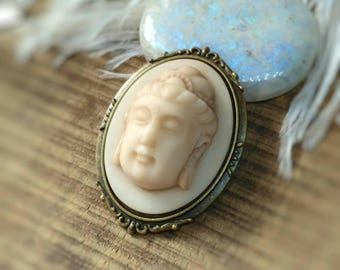Buddha brooch, Buddha jewelry, Buddha Cameo Brooch Antique Bronze, Zen jewelry, Zen Brooch, Yoga jewelry, meditation jewelry, Spiritual