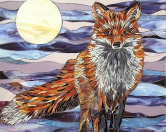 Moonlight Fox Card - Greetings Card - Fox Mosaic Art - Birthday Card - Fox Art - Stained Glass Fox Card - Original Mosaic Fox Painting
