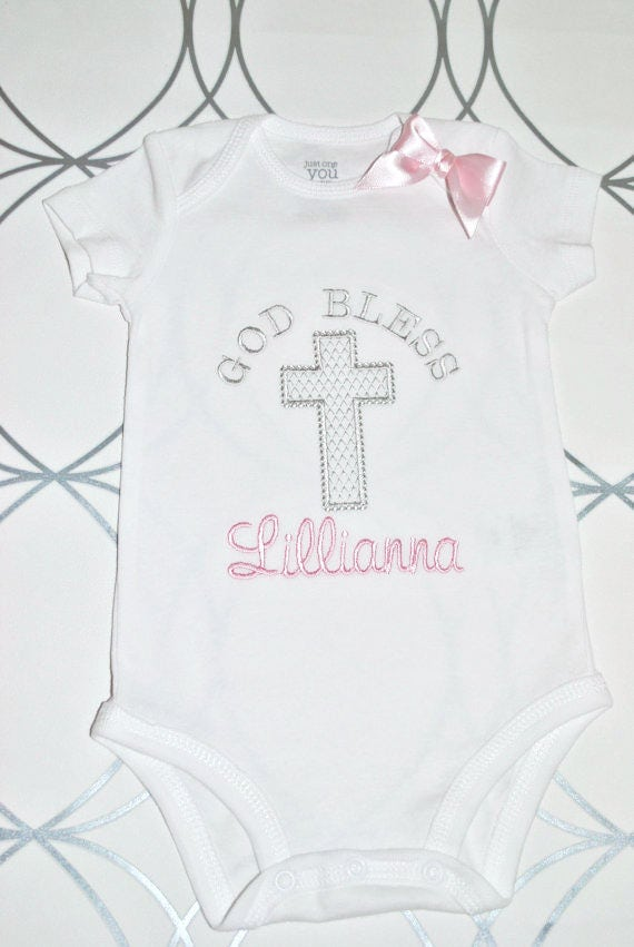 "Baby Girl ""God Bless"" Christening/Baptism/Easter Onesie"
