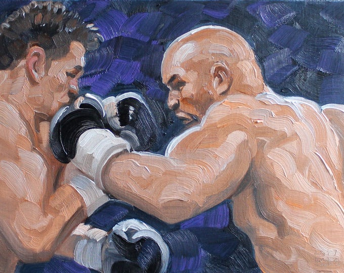 Sparring Bruisers, oil on canvas panel 11x14 inches by Kenney Mencher
