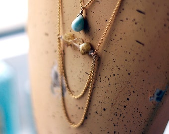 Statement Necklace. Golden Rutilated Quartz. Aquamarine. Gold Fill