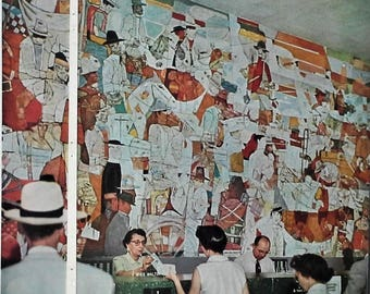Tulsa OK 1954 Mural 1st National Bank 'The Birth of Oklahoma' Fred Conway.  Historical Controversial Artwork.  Mag Photo.  Ready Frame