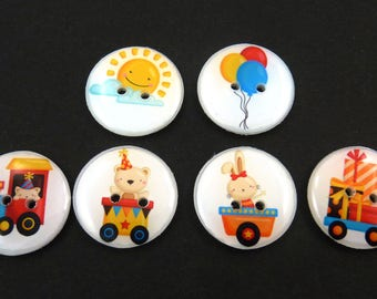 """6 Party Train Buttons.  Handmade Buttons.  Sewing Buttons.  3/4"""" or 20 mm"""
