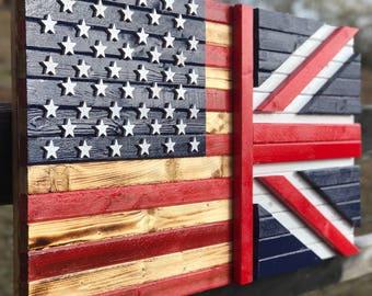 American flag / Union Jack flag 19 x 36