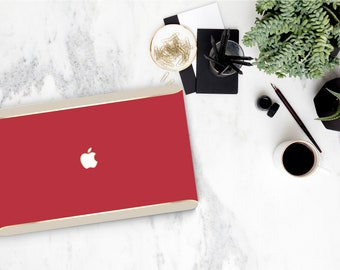 Red Macbook Pro 13 Case Macbook Air Case Laptop Case Macbook Case . Red . Gold Chrome . Cream Edge Accent - Platinum