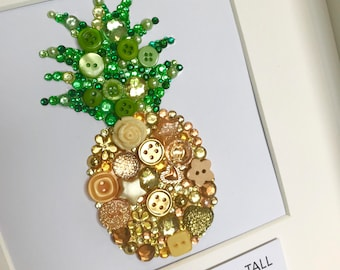 PINEAPPLE button art - Be a pineapple! thank you gift - inspiration - birthday - christmas gift - gold