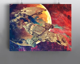 Firefly -  The Serenity vs Reaver Ship Mixed Media Painting, Cult Classic, SciFi Art Poster No105