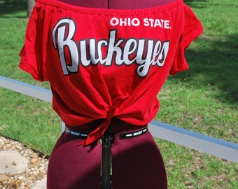 Ohio State Buckeyes Shirt Upcycled Off Shoulder Cropped with tie Waist, One Shoulder Size M-L