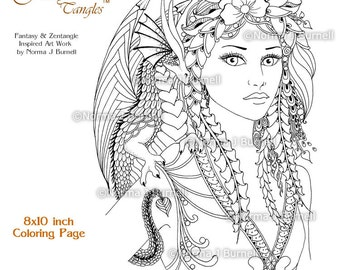 Fira & Drake Fairy Tangles Printable Coloring Book Pages by Norma Burnell Digital Coloring Sheets Fairies Dragons to Color - Adult coloring