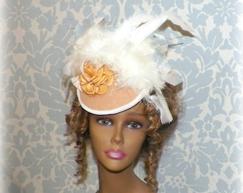 Victorian Hat Fascinator Gothic Steampunk Lolita Costume Tan Cream Ivory Color Headpiece Old West  Marie Antoinette