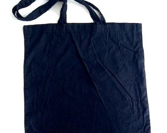 Extra Simple black cotton shoulder tote