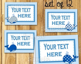 Boy Baby shower Whale food tent cards Name card Table place card Table decorations baby shower Food Cards Gender Reveal buffet 12 PRECUT