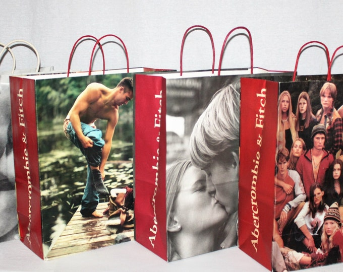 Vintage Lot of 4 Abercrombie and Fitch paper shopping bags, Black & White and Color