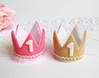 Birthday Crowns For Twins | Twin Birthday | 1st Birthday Crowns For Twins | First Birthday Crowns | Princess And Prince Crowns |  Felt Crown