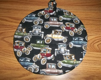 Quilted, Pot Holders, Novelty Antique Cars, Potholders, Hot Pads, Trivet Round, Handmade, Double Insulated, Kitchen Decor, Hostess Gift