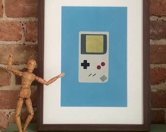 Gameboy collage, nintendo gameboy art, nerd art, minimalistic art, geek art,  wall art, paper art