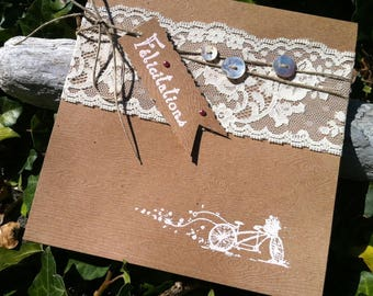 Kraft wedding invitation, lace and Pearl buttons