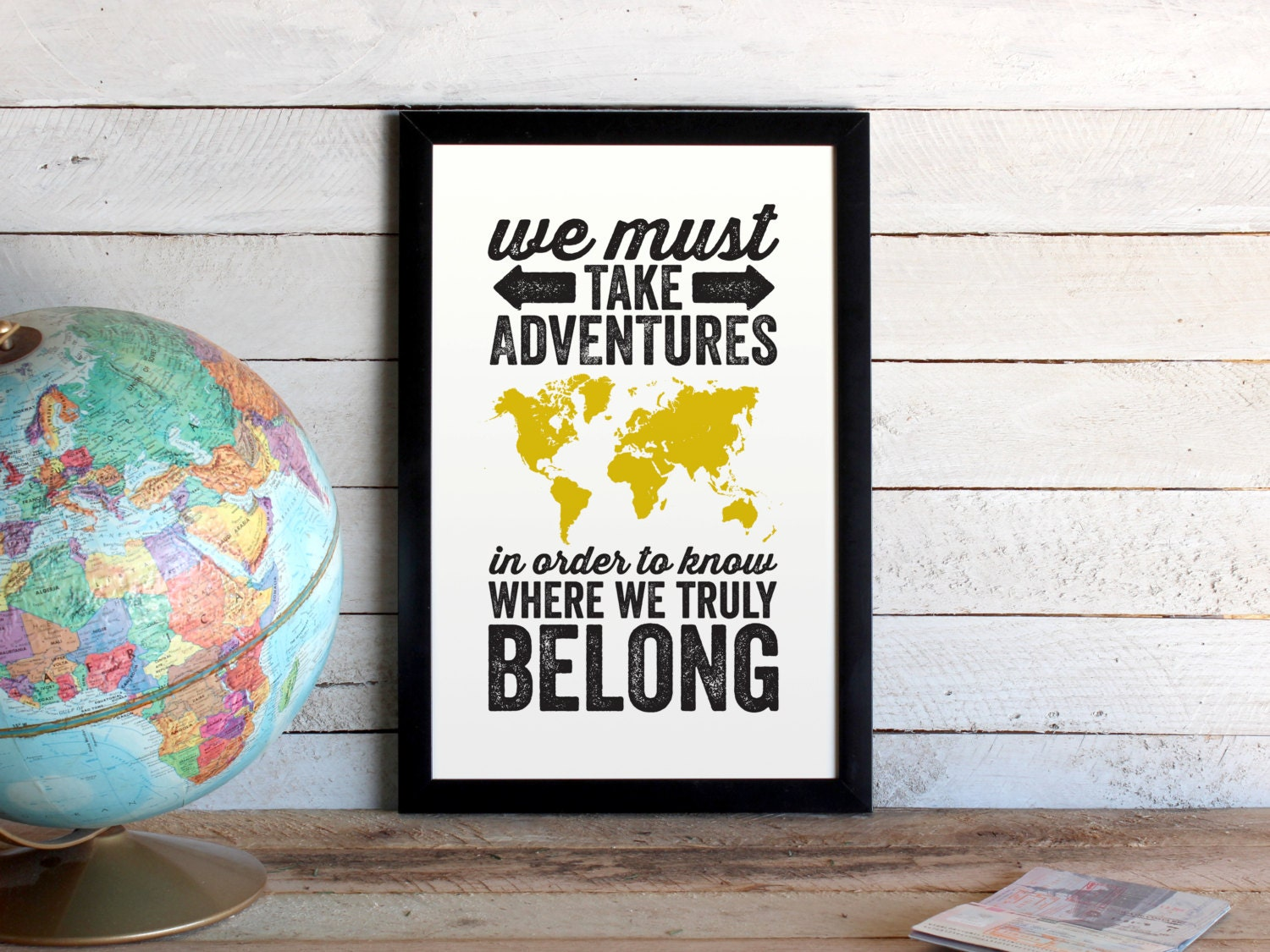 Custom Quote Prints Adventures World Map Travel Poster We Must Take Adventures
