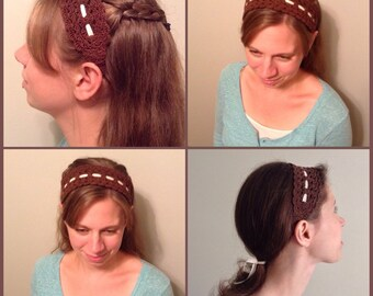 Crocheted Headband with Ribbon Ties 100% Cotton Lace Ladies ( Gift Idea )