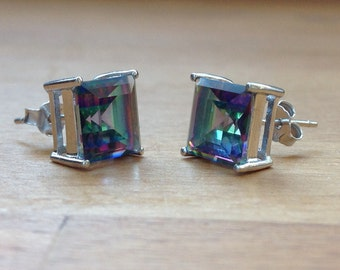 Princess cut Rainbow Fire Mystic Topaz Sterling Silver Stud Earrings
