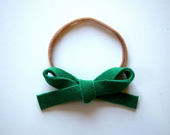 Green Suede LARGE Leather Bow One Size Fits All Elastic Adorable Photo Prop for Newborn Baby Little Girl Child Adult Holiday Headwrap