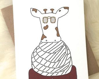 Giraffe in Scarf Blank Greeting Card