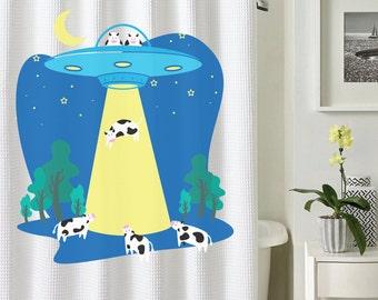 Alien Cow Shower Curtain,  Alien Curtain, Cow Shower Curtain, Animal Shower Curtain, Illustrated Shower Curtain,  Funny Shower Curtain