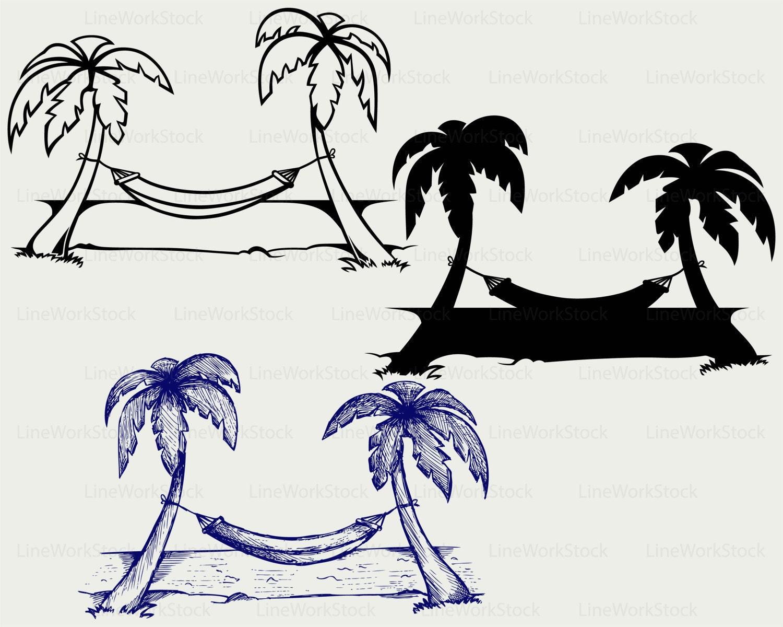 Hammock Svg/palm Clipart/hammock Svg/island Silhouette/palm