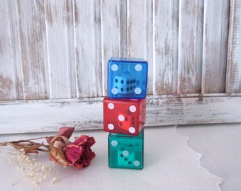 Dice within Dice  collection of dice  game dice  mixed media  dice games assemblage - set of 3.