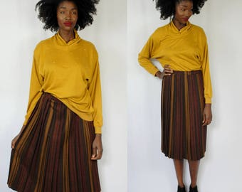 Burgundy and mustard striped wool midi skirt 1980s 80s VINTAGE