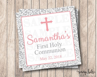 Personalized Printable First Communion Tags, Printable First Holy Communion Tags, Small Cross Girl Communion Tags