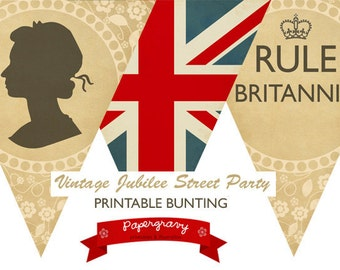 INSTANT DOWNLOAD Printable British Party BUNTING Union Jack Flag Banner